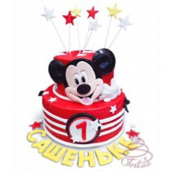 Детский торт «Микки Маус» з зірочками