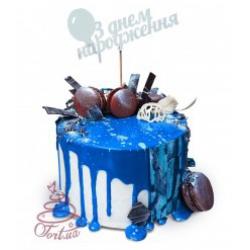 Торт на заказ с синей зеркальной глазурью