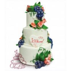 Торт на замовлення «Троянди й виноград»