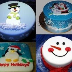 Торт Новогдие снеговики