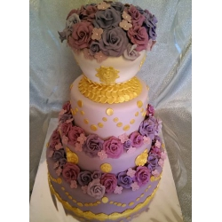 Свадебный торт Золото и цветы: заказать, доставка