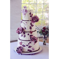 Свадебный торт Пурпурные пионы: заказать, доставка