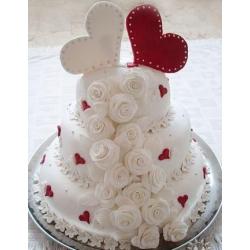 Свадебный торт Два любящих сердца: заказать, доставка