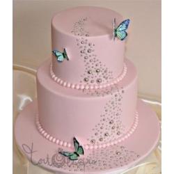 Свадебный торт Розовая бабочка