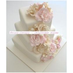 Свадебный торт Айвори с розовым: заказать, доставка