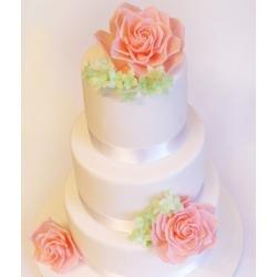 Свадебный торт Коралловые розы с гортензией: заказать, доставка