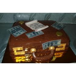 Торт на заказ Чемодан с долларами закрытый