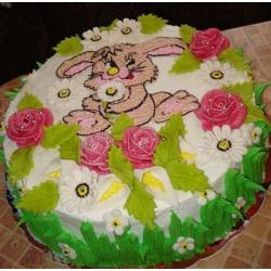 Детский торт Зайчик на лужайке-2