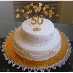 Торт на Золотую свадьбу 50: заказать, доставка