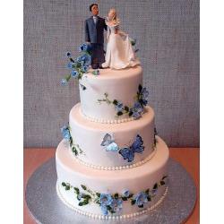 Свадебный торт Голубые бабочки: заказать, доставка