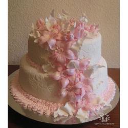 Торт на свадьбу Каскад лилий