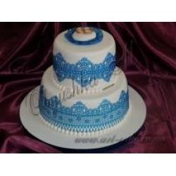 Свадебный с синими кружевами